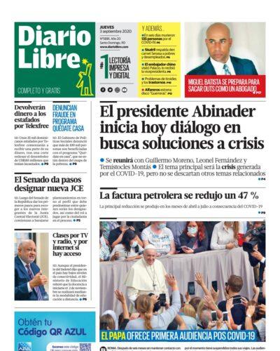 Portada Periódico Diario Libre, Jueves 03 de Septiembre, 2020