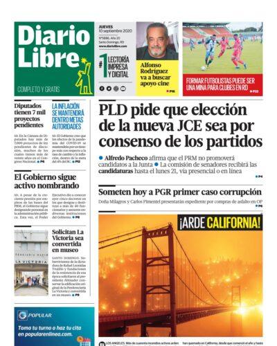 Portada Periódico Diario Libre, Jueves 10 de Septiembre, 2020