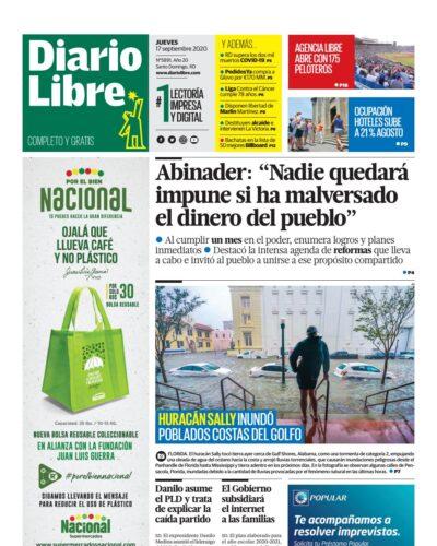 Portada Periódico Diario Libre, Jueves 17 de Septiembre, 2020