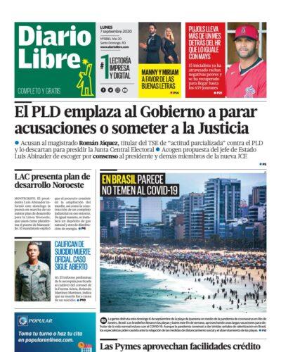 Portada Periódico Diario Libre, Lunes 07 de Septiembre, 2020