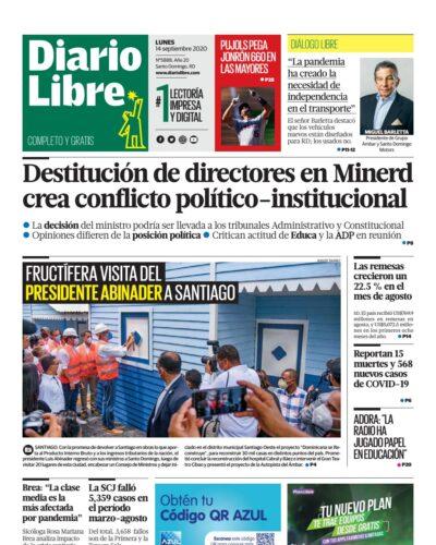 Portada Periódico Diario Libre, Lunes 14 de Septiembre, 2020