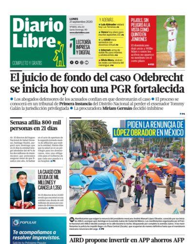 Portada Periódico Diario Libre, Lunes 21 de Septiembre, 2020