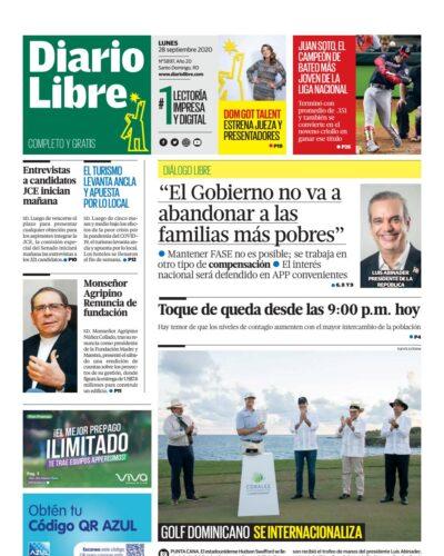 Portada Periódico Diario Libre, Lunes 28 de Septiembre, 2020