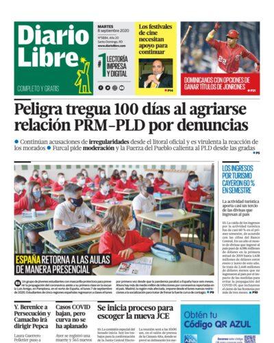 Portada Periódico Diario Libre, Martes 08 de Septiembre, 2020