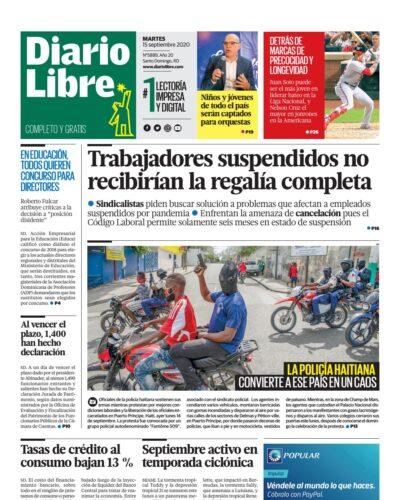 Portada Periódico Diario Libre, Martes 15 de Septiembre, 2020