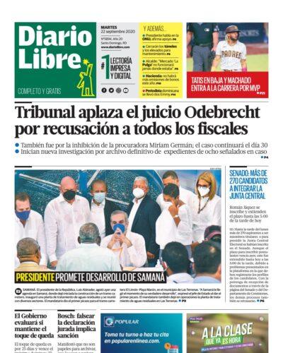 Portada Periódico Diario Libre, Martes 22 de Septiembre, 2020