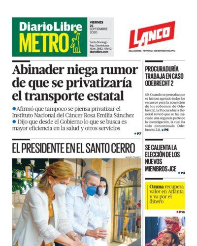 Portada Periódico Diario Libre Metro, Viernes 25 de Septiembre, 2020
