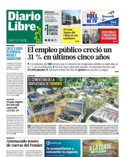 Portada Periódico Diario Libre, Miércoles 09 de Septiembre, 2020