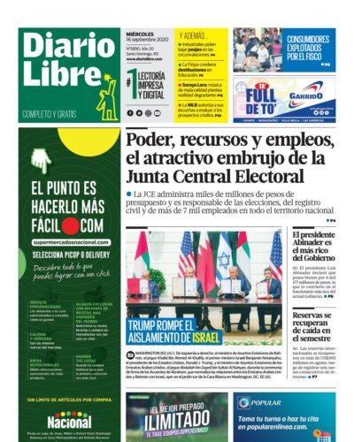 Portada Periódico Diario Libre, Miércoles 16 de Septiembre, 2020