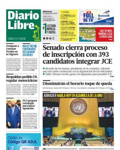 Portada Periódico Diario Libre, Miércoles 23 de Septiembre, 2020