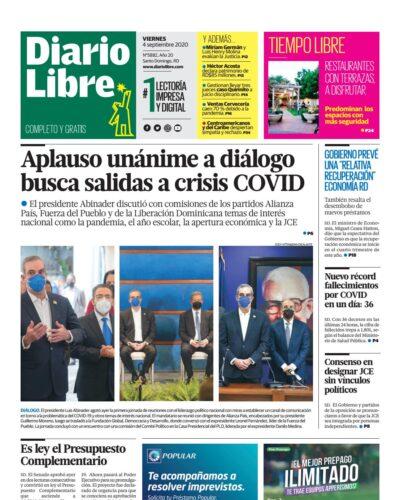Portada Periódico Diario Libre, Viernes 04 de Septiembre, 2020
