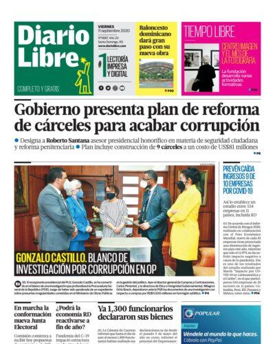 Portada Periódico Diario Libre, Viernes 11 de Septiembre, 2020
