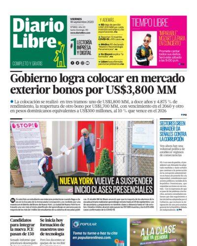 Portada Periódico Diario Libre, Viernes 18 de Septiembre, 2020