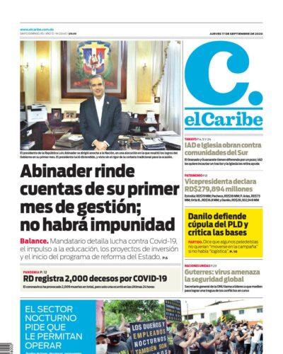 Portada Periódico El Caribe, Jueves 17 de Septiembre, 2020