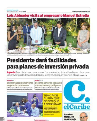 Portada Periódico El Caribe, Lunes 14 de Septiembre, 2020