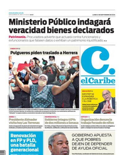 Portada Periódico El Caribe, Lunes 21 de Septiembre, 2020