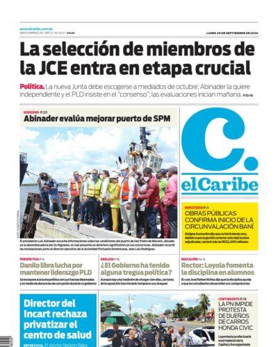 Portada Periódico El Caribe, Lunes 28 de Septiembre, 2020