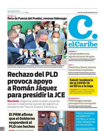 Portada Periódico El Caribe, Martes 08 de Septiembre, 2020