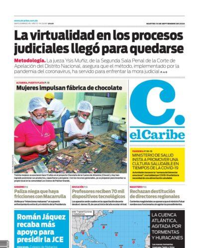 Portada Periódico El Caribe, Martes 15 de Septiembre, 2020