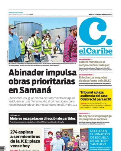 Portada Periódico El Caribe, Martes 22 de Septiembre, 2020