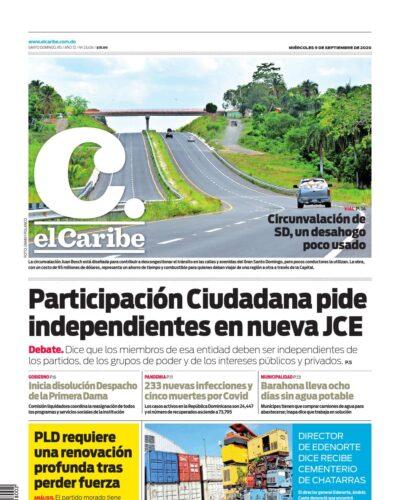 Portada Periódico El Caribe, Miércoles 09 de Septiembre, 2020