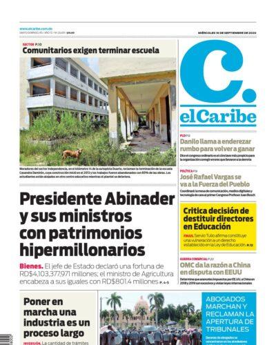 Portada Periódico El Caribe, Miércoles 16 de Septiembre, 2020