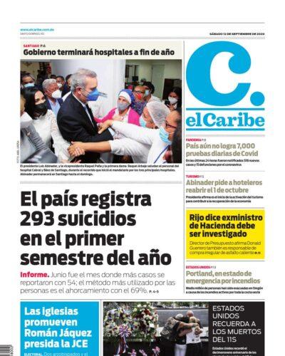 Portada Periódico El Caribe, Sábado 12 de Septiembre, 2020