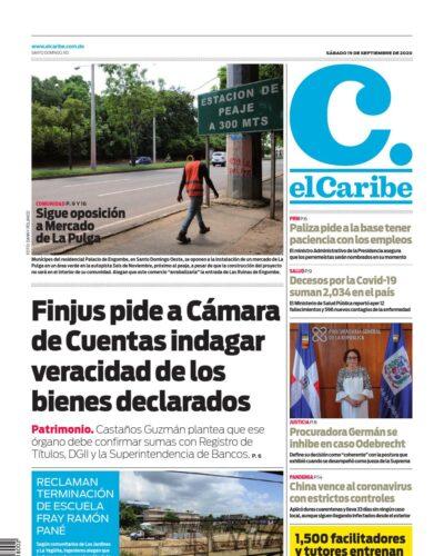 Portada Periódico El Caribe, Sábado 19 de Septiembre, 2020