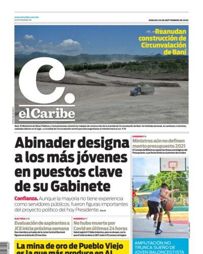 Portada Periódico El Caribe, Sábado 26 de Septiembre, 2020