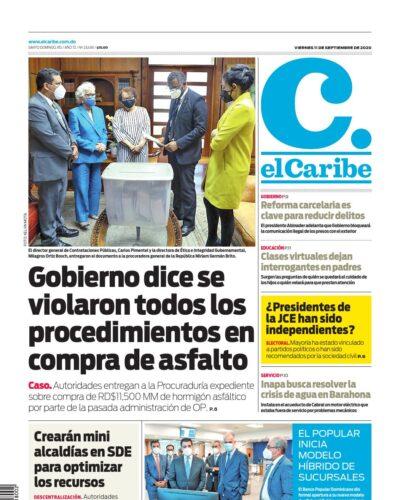 Portada Periódico El Caribe, Viernes 11 de Septiembre, 2020