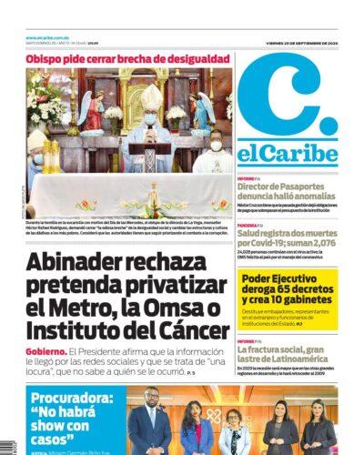 Portada Periódico El Caribe, Viernes 25 de Septiembre, 2020