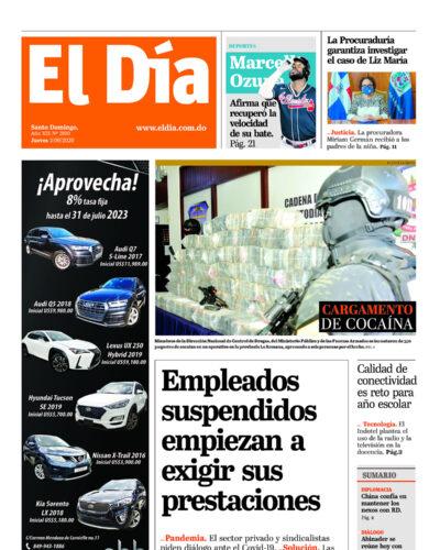 Portada Periódico El Día, Jueves 03 de Septiembre, 2020