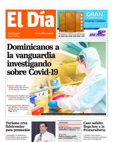 Portada Periódico El Día, Jueves 10 de Septiembre, 2020