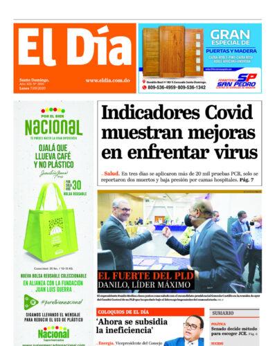Portada Periódico El Día, Lunes 07 de Septiembre, 2020