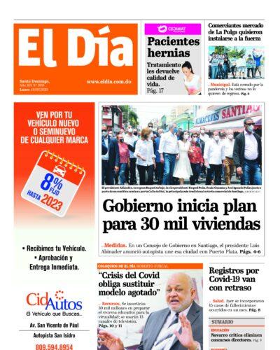 Portada Periódico El Día, Lunes 14 de Septiembre, 2020