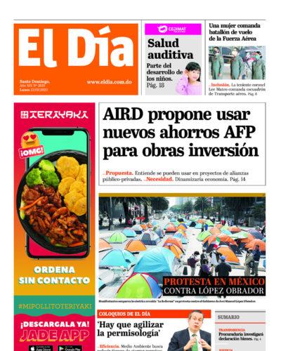 Portada Periódico El Día, Lunes 21 de Septiembre, 2020