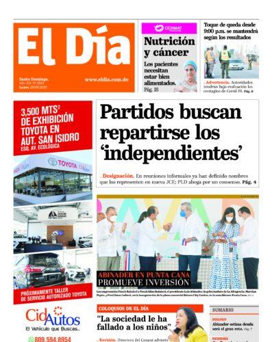 Portada Periódico El Día, Lunes 28 de Septiembre, 2020