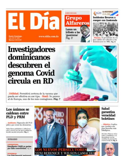 Portada Periódico El Día, Martes 08 de Septiembre, 2020