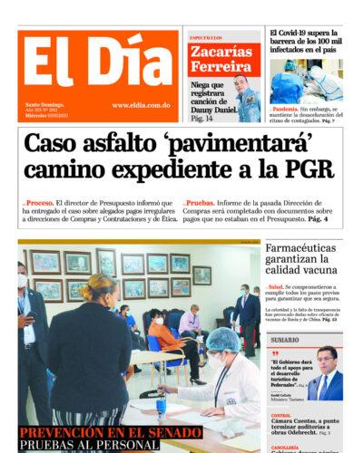 Portada Periódico El Día, Miércoles 09 de Septiembre, 2020