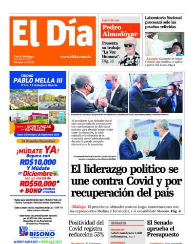 Portada Periódico El Día, Viernes 04 de Septiembre, 2020