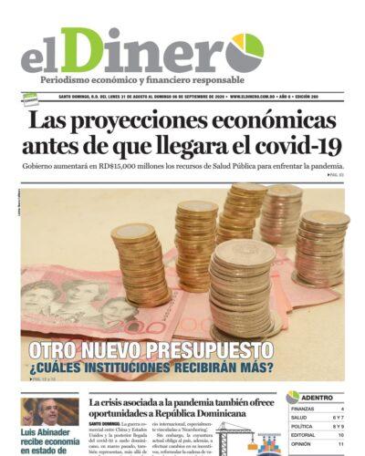 Portada Periódico El Dinero, Martes 01 de Septiembre, 2020