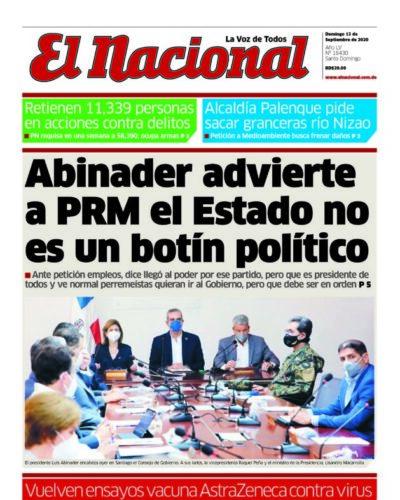 Portada Periódico El Nacional, Domingo 13 de Septiembre, 2020