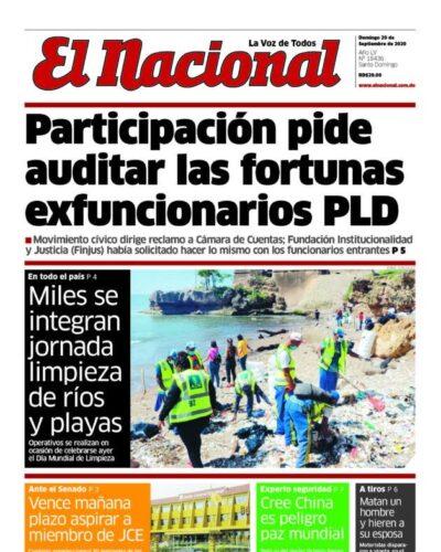 Portada Periódico El Nacional, Domingo 20 de Septiembre, 2020