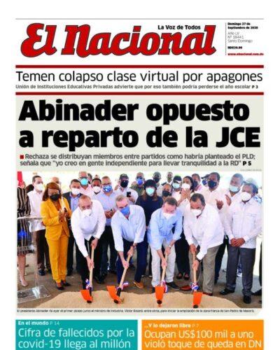 Portada Periódico El Nacional, Domingo 27 de Septiembre, 2020