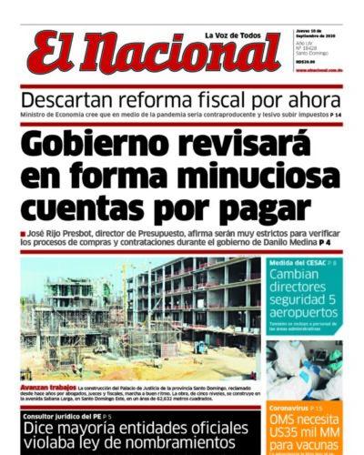 Portada Periódico El Nacional, Jueves 10 de Septiembre, 2020