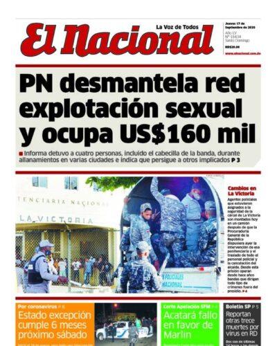Portada Periódico El Nacional, Jueves 17 de Septiembre, 2020