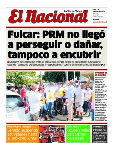 Portada Periódico El Nacional, Lunes 07 de Septiembre, 2020