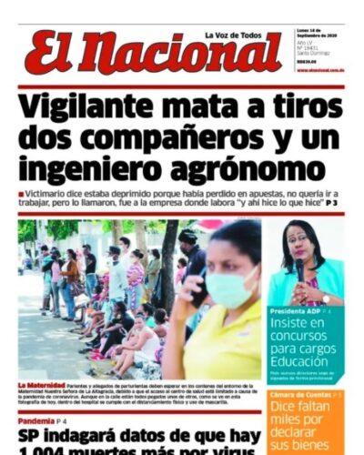 Portada Periódico El Nacional, Lunes 14 de Septiembre, 2020