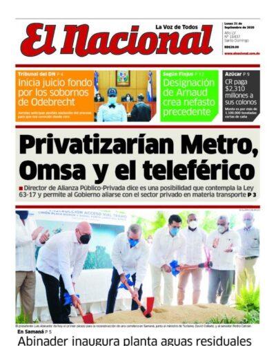 Portada Periódico El Nacional, Lunes 21 de Septiembre, 2020