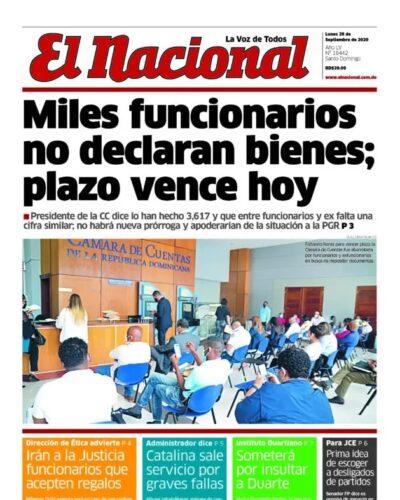Portada Periódico El Nacional, Lunes 28 de Septiembre, 2020